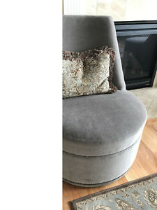 Pair Of Vanguard Upholstered Swivel Chairs Taupe