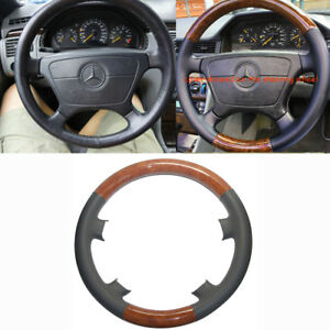 Gray Leather Wood Steering Wheel Cover Trim Benz W210 E 95 99 W202 S202 C C280
