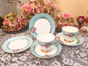 Antique Hand Painted Shelley Cup Saucer Plate Trios