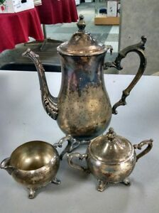 Vintage Wm Rogers Silver Plated 3 Pc Coffee Tea Set Vintage Antique C64