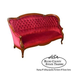 Victorian Walnut Antique Red Tufted Sofa