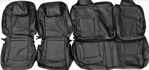 Black Leather Upholstery Seat Cover Set Fits 2008 2014 Nissan Rogue S Sl 2 Row