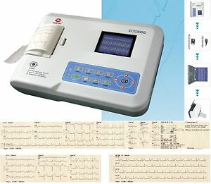 Fda Ce Ecg300g Electrocardiograph digital 3 Channel 12 Lead Ekg printer pc Sw