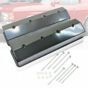 Fabricated Black Racing Center Bolt Valve Covers Fit Sbc Chevy 305 5 0l 350 5 7l