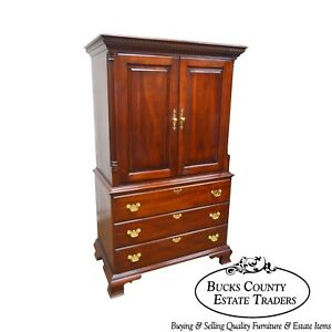 Statton Chippendale Style Solid Cherry 2 Door Tv Armoire Cabinet