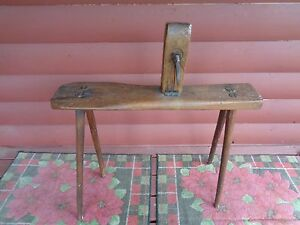 Antique Primitive 1800 S Leather Workers Clamp Bench With Vice Harness