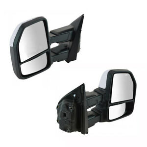 For 99 07 Ford F250 f550 Super Duty Excursion Tow Mirror Power Heated Chrome Cap