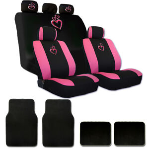 For Hyundai New Pink Heart Car Auto Truck Seat Steering Covers Floor Mats Set