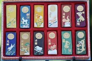 Antique Chinese Zodiac Asian Ink Paint Tiles In Box