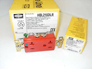 New Box Of 10 Hubbell Hbl2182ilr Hospital Grade Red Illuminated 5 20r 20a