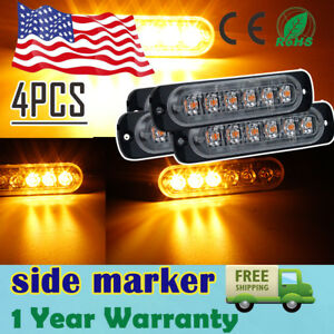 4x Orange 6led Car Emergency Beacon Warning Hazard Flash Strobe Light Bar X