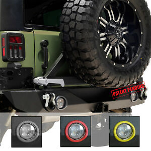 07 18 Jeep Jk Wrangler Led Rear Bumper Black With Tire Carrier Hitch Receiver