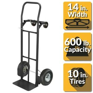 Dolly Hand Truck 600 Lbs 2 In 1 Black Heavy Duty Steel Frame Moving By Olympia