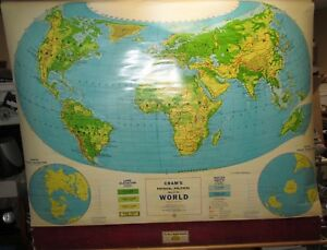 Vtg Cram S Cspd 125 Physical Political School Pull Down Map Of The World J0960