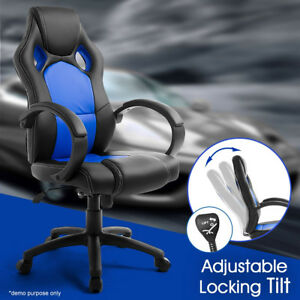 Racing Style Office Computer Pu Leather Swivel Chair Bucket Seat High Back Bule