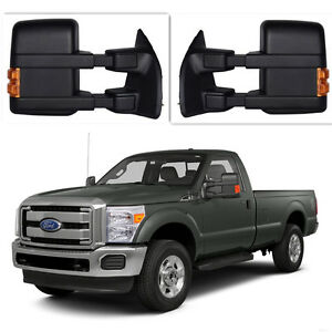 For 99 16 Ford Superduty F250 F550 Dualarm Manual Towing Mirror Led Amber Signal