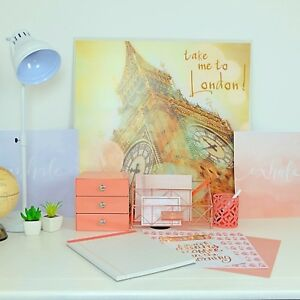 Office Desk Accessories Set With Rose Gold Organizer