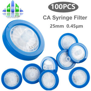 100pcs Ca Syringe Filter 25mm 0 45um Pore Size With Pp Prefilter Hydrophilic