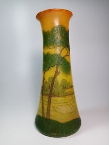 French Art Nouveau Glass Legras Jugendstil Hand Painted Vase