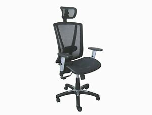 Executive High Back Office Chair With Attached Headrest Black Breathable Mesh