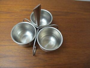 Mid Century Modern 3 Bowl Condiment Serving Dish Stainless Walnut Stand Caddy
