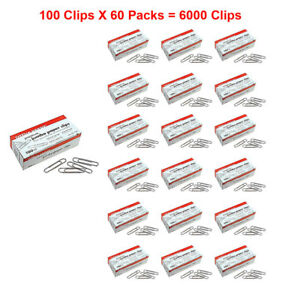 6000x Office Depot Jumbo Paper Clips Silver Non skid Strong Hold 100 pack X 60