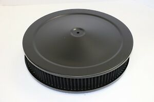 14 X 3 Round Black Washable Black Air Cleaner Assembly Drop Base Sbc 350 Bbc