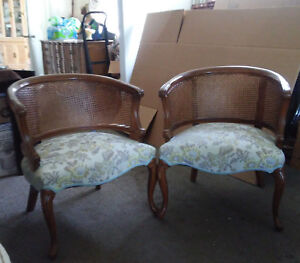 Vintage Louis Xvi Style Barrel Back Cane Chairs French Regency Style