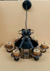 Vintage Spanish Revival Gothic Medieval Metal Wood Chandelier Light Fixture