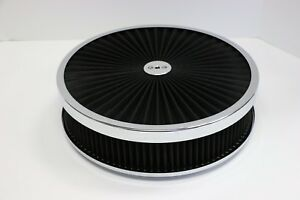 14 X 3 Chrome Round Black High Flow Thru Washable Air Cleaner Flat Base 350
