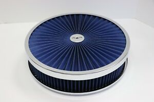 14 X 3 Chrome Round Blue High Flow Thru Washable Air Cleaner Drop Base Sbc 350