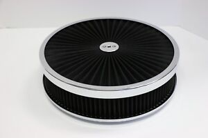 14 X 3 Chrome Round Black High Flow Thru Washable Air Cleaner Drop Base 350