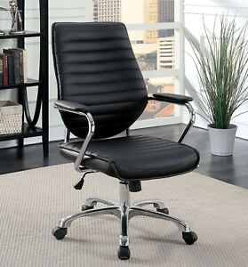 Black Padded Leatherette Adjustable Office Chair Chrome Leg W Casters