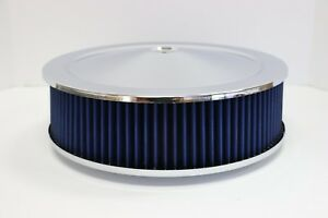14 X 4 Round Chrome Blue Washable Air Cleaner Flat Base Ford Chevy Sbc 350 454