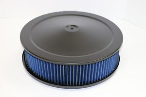 14 X 4 Round Black Washable Blue Air Cleaner Assembly Flat Base Sbc 350 Bbc
