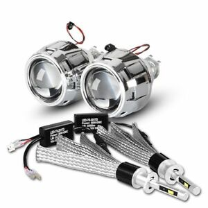 2 5 Car Bi Xenon Hid Projector Lens Kit With Led Headlight Bulb H1 H4 H7 Beam