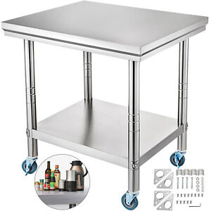 Stainless Steel Work Table 30 X 24 Food Prep utility Work Station 4 Wheels