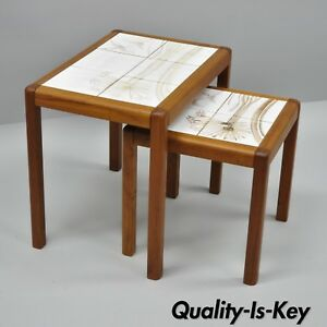 Vintage Toften Mobelfabrikken Danish Modern 2 Tile Top Nesting Side End Tables