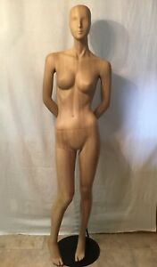 Female Mannequin Dress Form Display With Wood Grain Finish