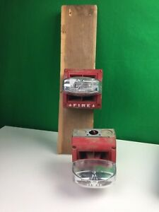 Lot Of 2 Vintage Industruial Red Fire Alarms untested