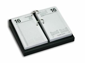 Dacasso Black Leather Desktop Calendar Holder With Silver Bolts 3 5 inch By