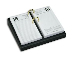 Dacasso Black Leather Desktop Calendar Holder With Gold Bolts 4 5 inch By 8