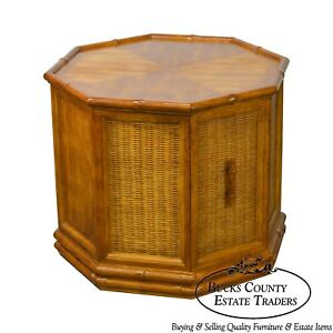 American Of Martinsville Faux Bamboo Octagan Wicker One Door Side Table