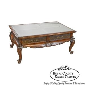 French Louis Xv Style Carved Mahogany Glass Top Coffee Table With Caning