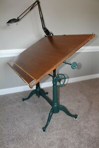 1911 Antique Worcester Drafting Table The Washburn Shops Cast Iron Base