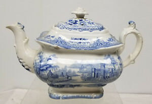 Antique English Softpaste Ironstone Teapot Unsigned Blue And White Transfer