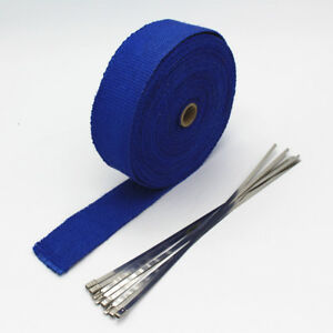 Blue 10m Fiberglass Wrap Exhaust Header Pipe Thermal Insulation Tape Roll 6 Kit