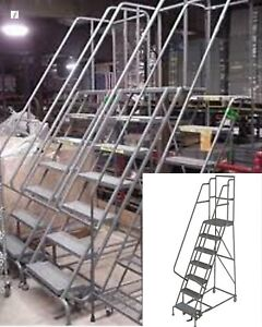 7 Step Steel Roll Around Staircase Rolling Safety Ladder