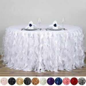 14 Feet X 29 Taffeta Curly Banquet Table Skirt Party Wedding Booth Decorations
