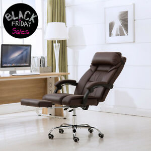 High Back Pu Leather Chair Ergonomic Executive Office Desk Chair W footrest